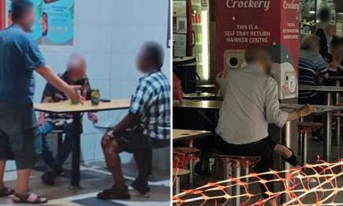 A gathering of more than two people at Tekka Centre (left) and a patron sitting on a cordoned off seat at Whampoa Food Centre. PHOTOS: NATIONAL ENVIRONMENT AGENCY
