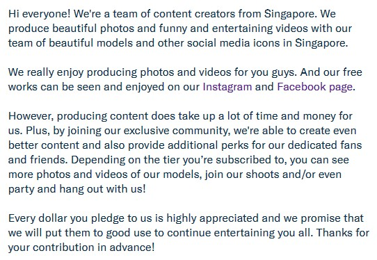 Influencer platform SgInstaBabes asks users to pay for subscriptions