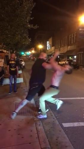 Balls woman the man kicking in YouTube vlogger